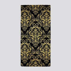 DAMASK1 BLACK MARBLE & GOLD BRUSHED ME Beach Towel